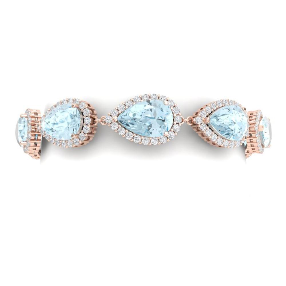 41.87 ctw Sky Topaz & VS Diamond Bracelet 18K Rose Gold - REF-418V2Y - SKU:38866