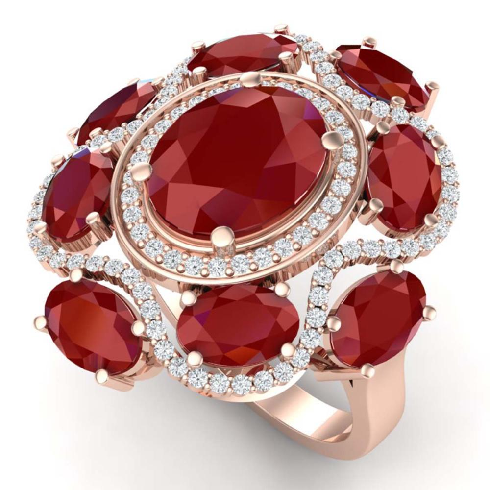 9.86 ctw Ruby & VS Diamond Ring 18K Rose Gold - REF-218H2M - SKU:39295