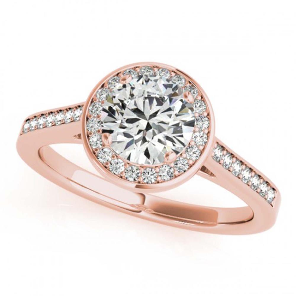 0.75 ctw VS/SI Diamond Halo Ring 18K Rose Gold - REF-99A5V - SKU:26357