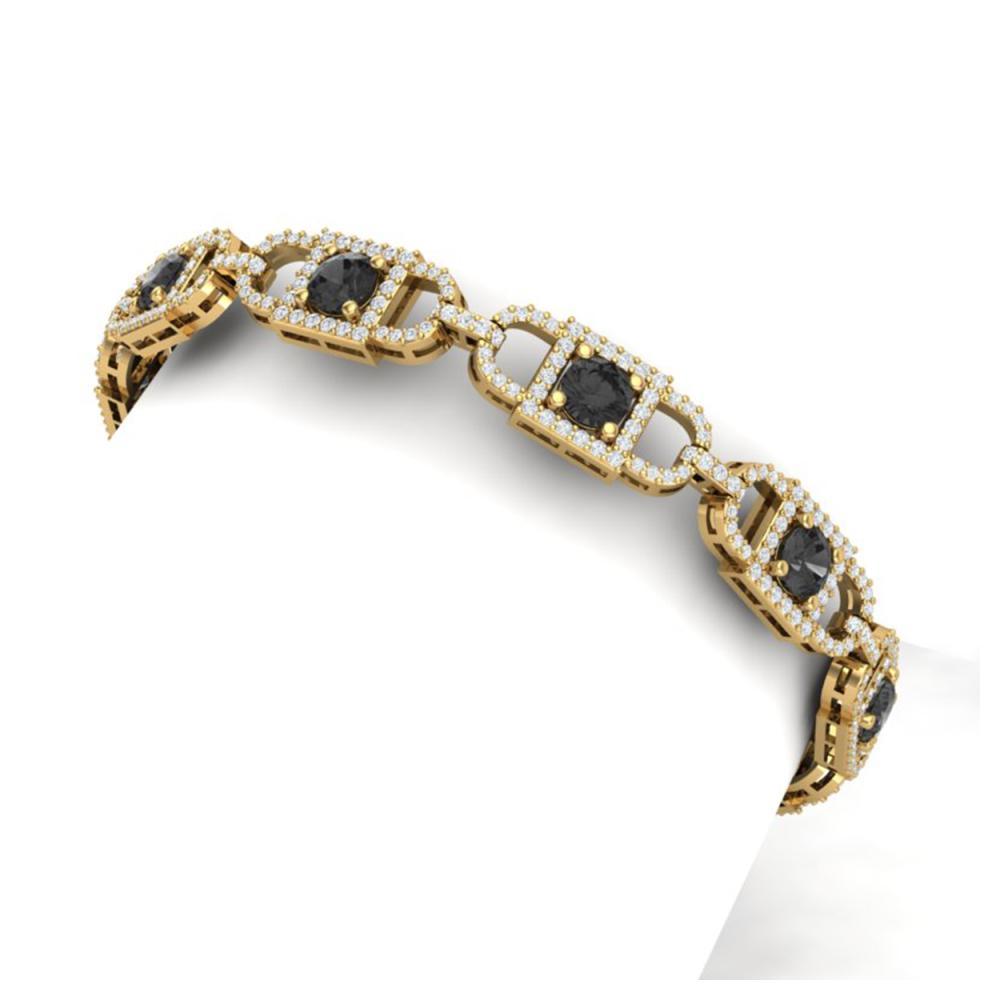 8 ctw Black And White Diamond Bracelet 18K Yellow Gold - REF-412F5N - SKU:40192