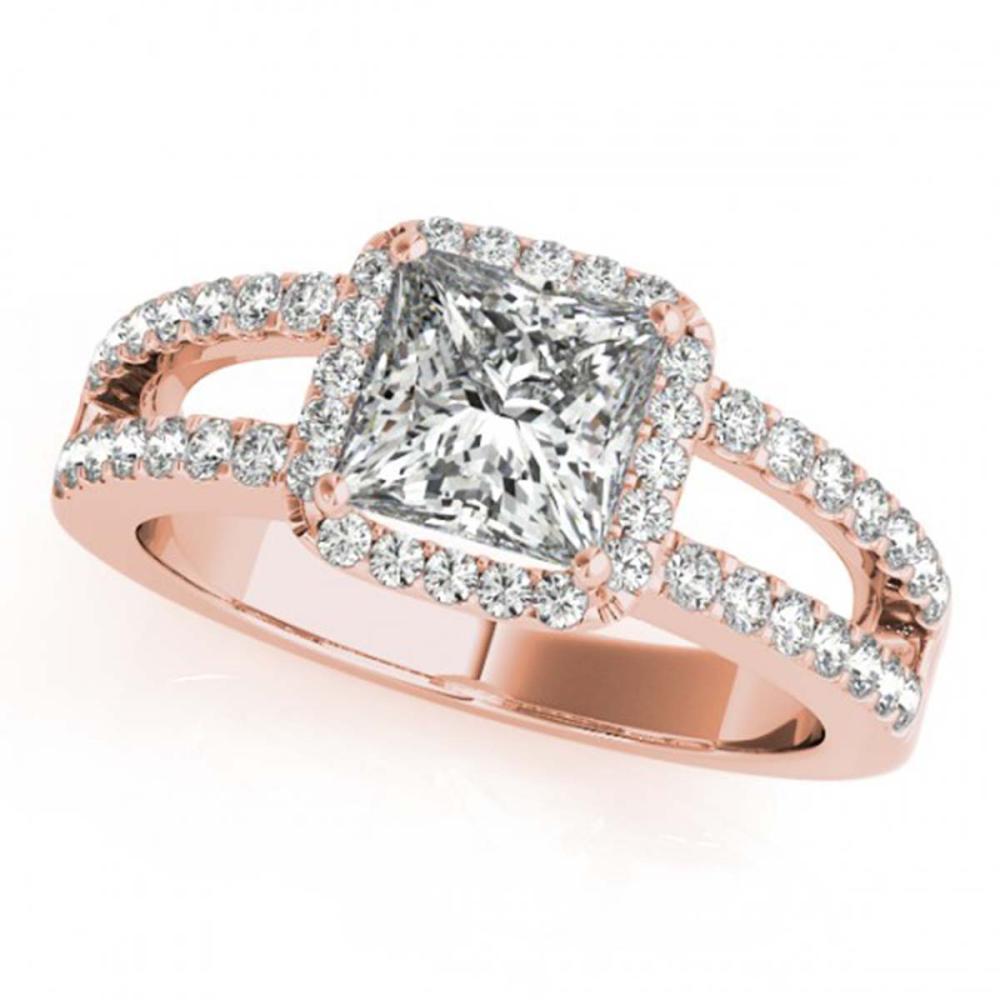 1.26 ctw VS/SI Princess Diamond Halo Ring 18K Rose Gold - REF-185F2N - SKU:27136
