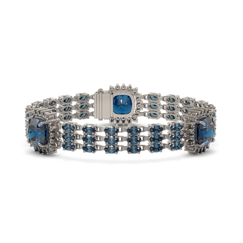 38.62 ctw London Topaz & Diamond Bracelet 14K White Gold - REF-381N8A - SKU:45344