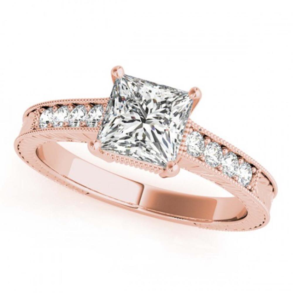 0.95 ctw VS/SI Princess Diamond Ring 18K Rose Gold - REF-167X3R - SKU:27229