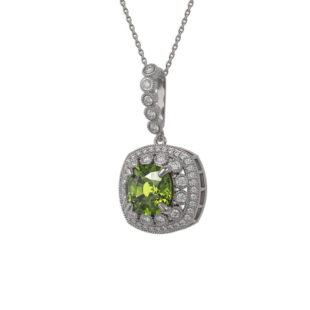 7.08 ctw Tourmaline & Diamond Necklace 14K White Gold - REF-179Y3X - SKU:44018