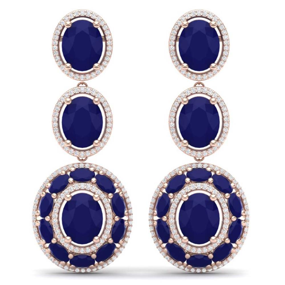 32.84 ctw Sapphire & VS Diamond Earrings 18K Rose Gold - REF-436H4M - SKU:39262