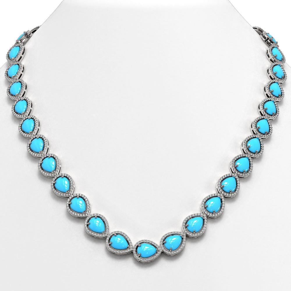 35.3 ctw Turquoise & Diamond Halo Necklace 10K White Gold - REF-600Y9X - SKU:46022
