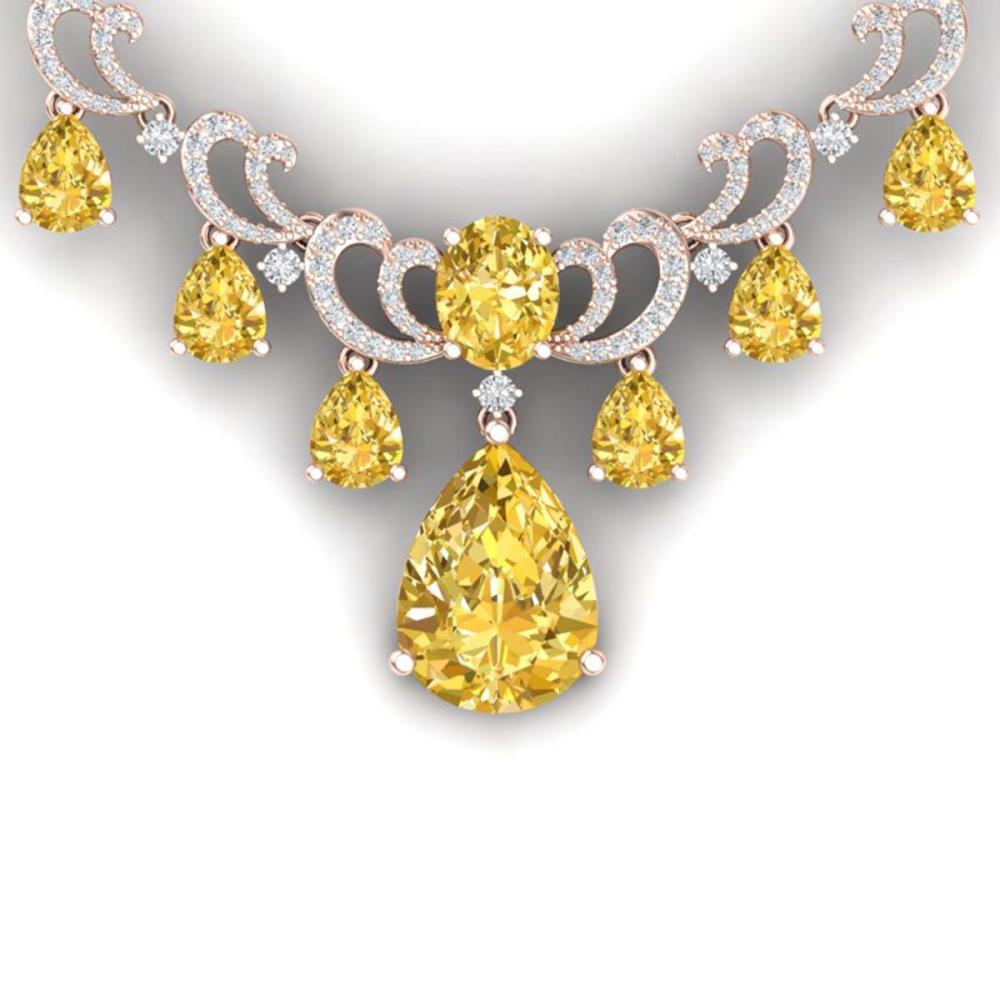 33.38 ctw Canary Citrine & VS Diamond Necklace 18K Rose Gold - REF-836V4Y - SKU:38668