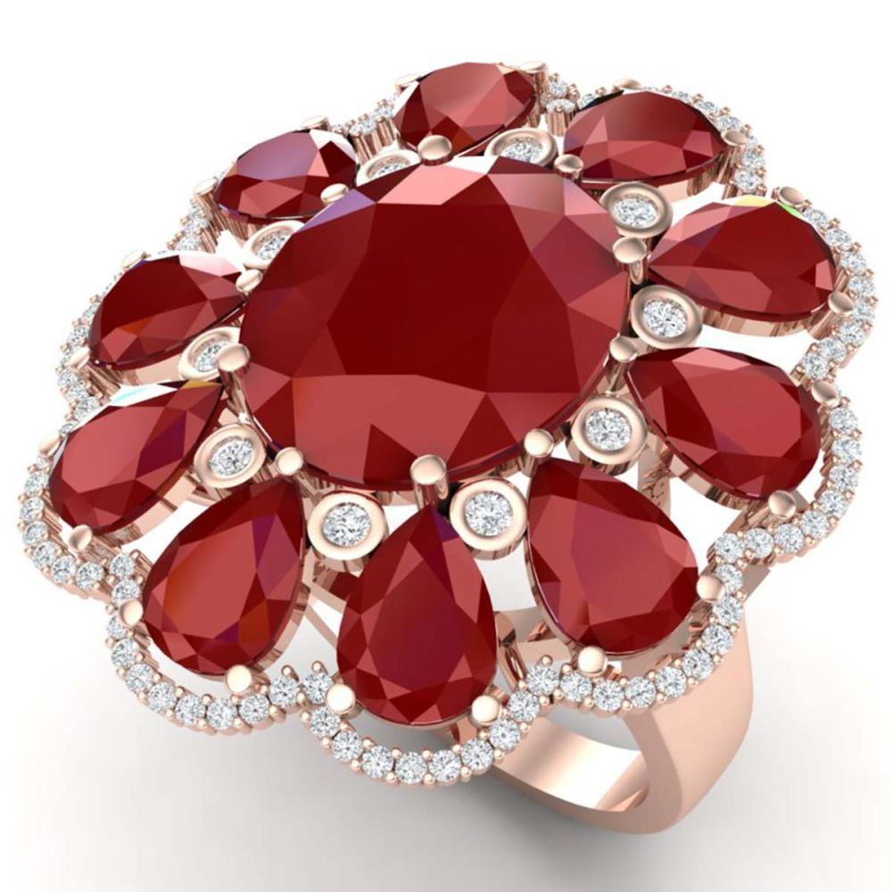 20.63 ctw Ruby & VS Diamond Ring 18K Rose Gold - REF-353A6V - SKU:39142