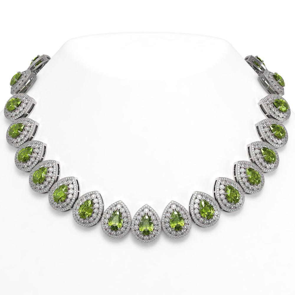 124.02 ctw Tourmaline & Diamond Necklace 14K White Gold - REF-3955N5A - SKU:43247