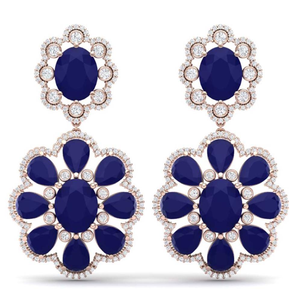 33.88 ctw Sapphire & VS Diamond Earrings 18K Rose Gold - REF-436K4W - SKU:39160