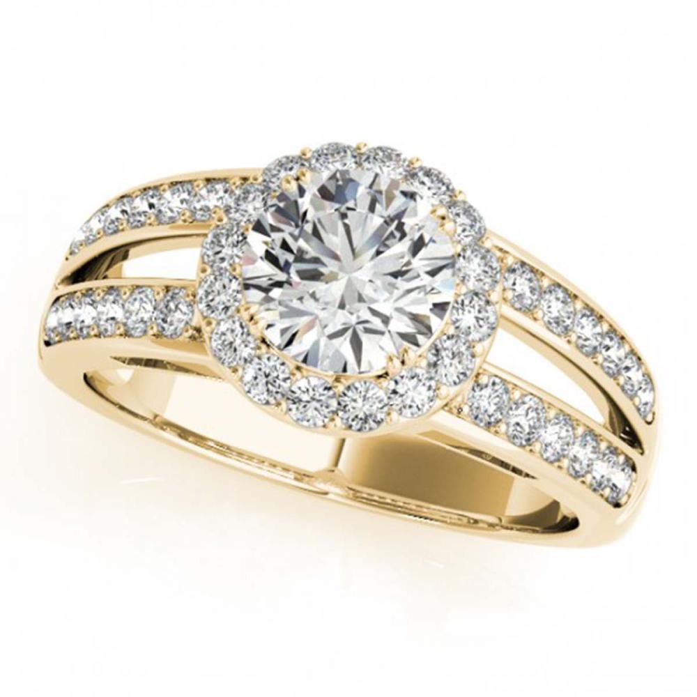 1.60 ctw VS/SI Diamond Halo Ring 18K Yellow Gold - REF-311A5V - SKU:26906