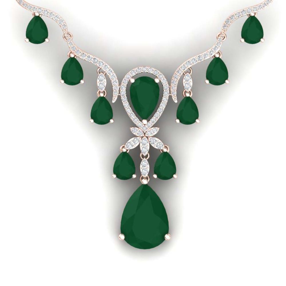 36.14 ctw Emerald & VS Diamond Necklace 18K Rose Gold - REF-763Y6X - SKU:38590