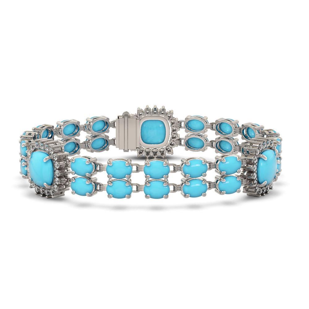 30.85 ctw Turquoise & Diamond Bracelet 14K White Gold - REF-278K4W - SKU:44903