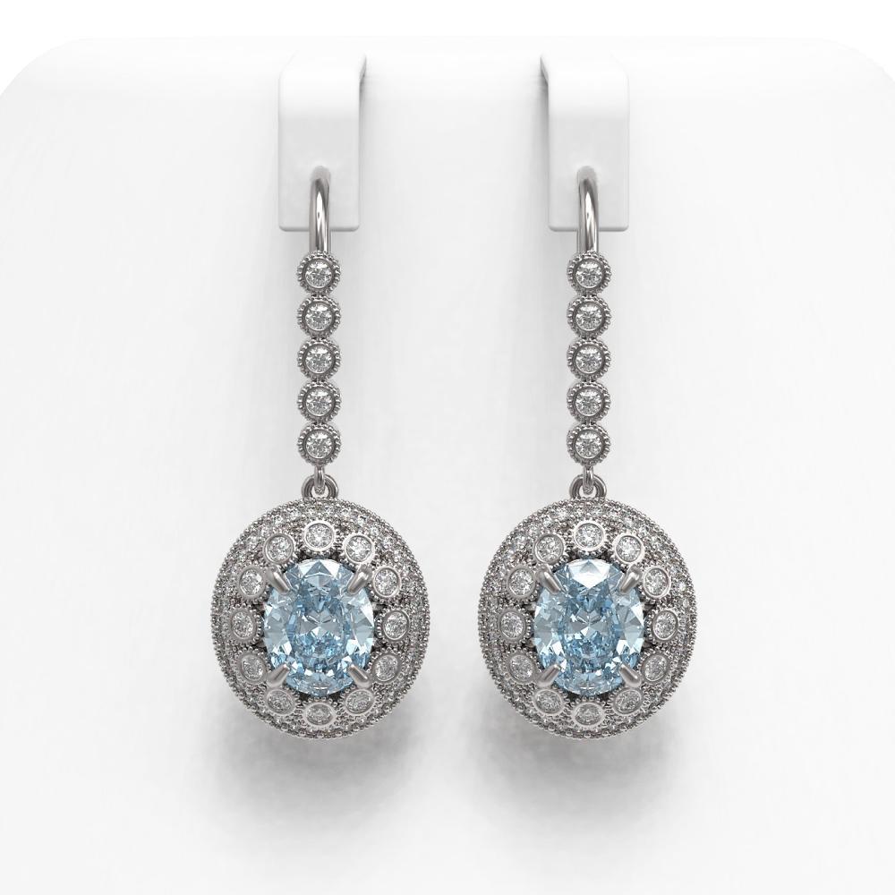 7.65 ctw Aquamarine & Diamond Earrings 14K White Gold - REF-250N5A - SKU:43613