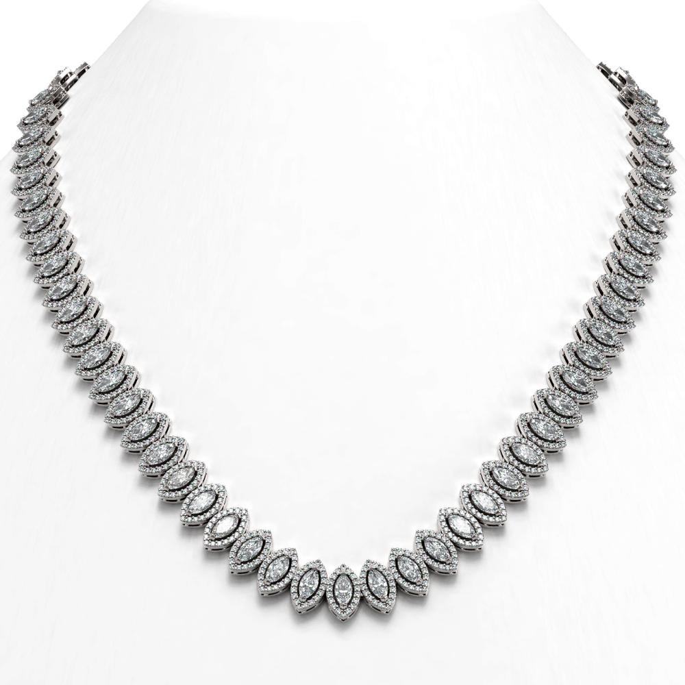 30.73 ctw Marquise Diamond Necklace 18K White Gold - REF-2577F7N - SKU:43082