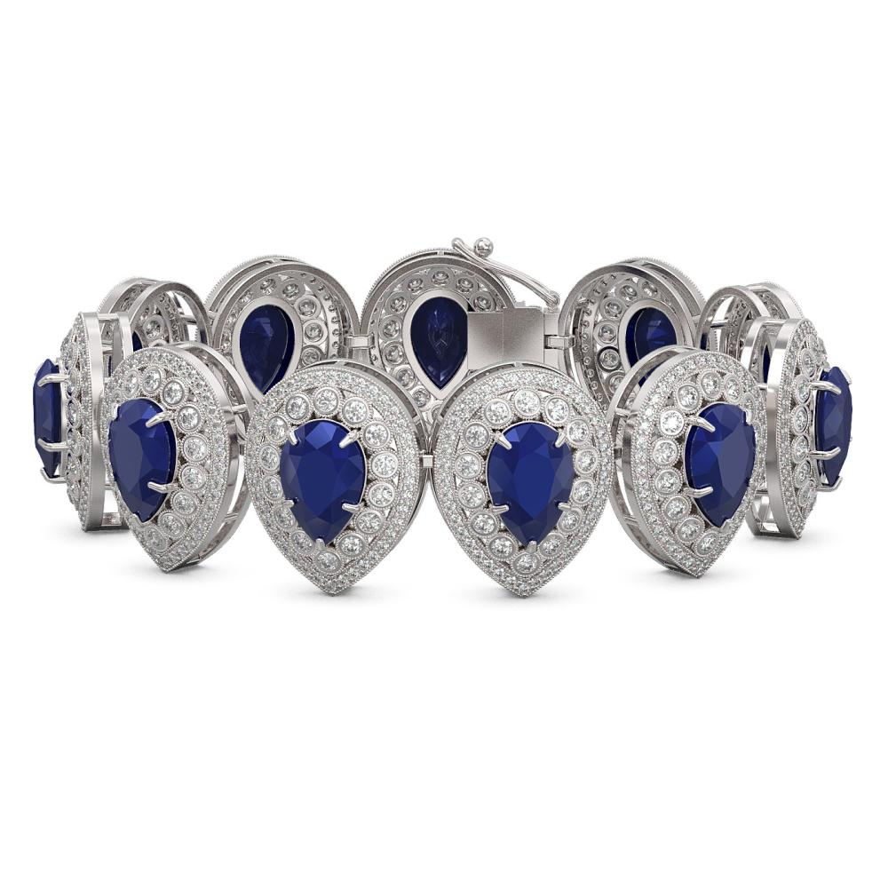 56.04 ctw Sapphire & Diamond Bracelet 14K White Gold - REF-1481R5K - SKU:43259