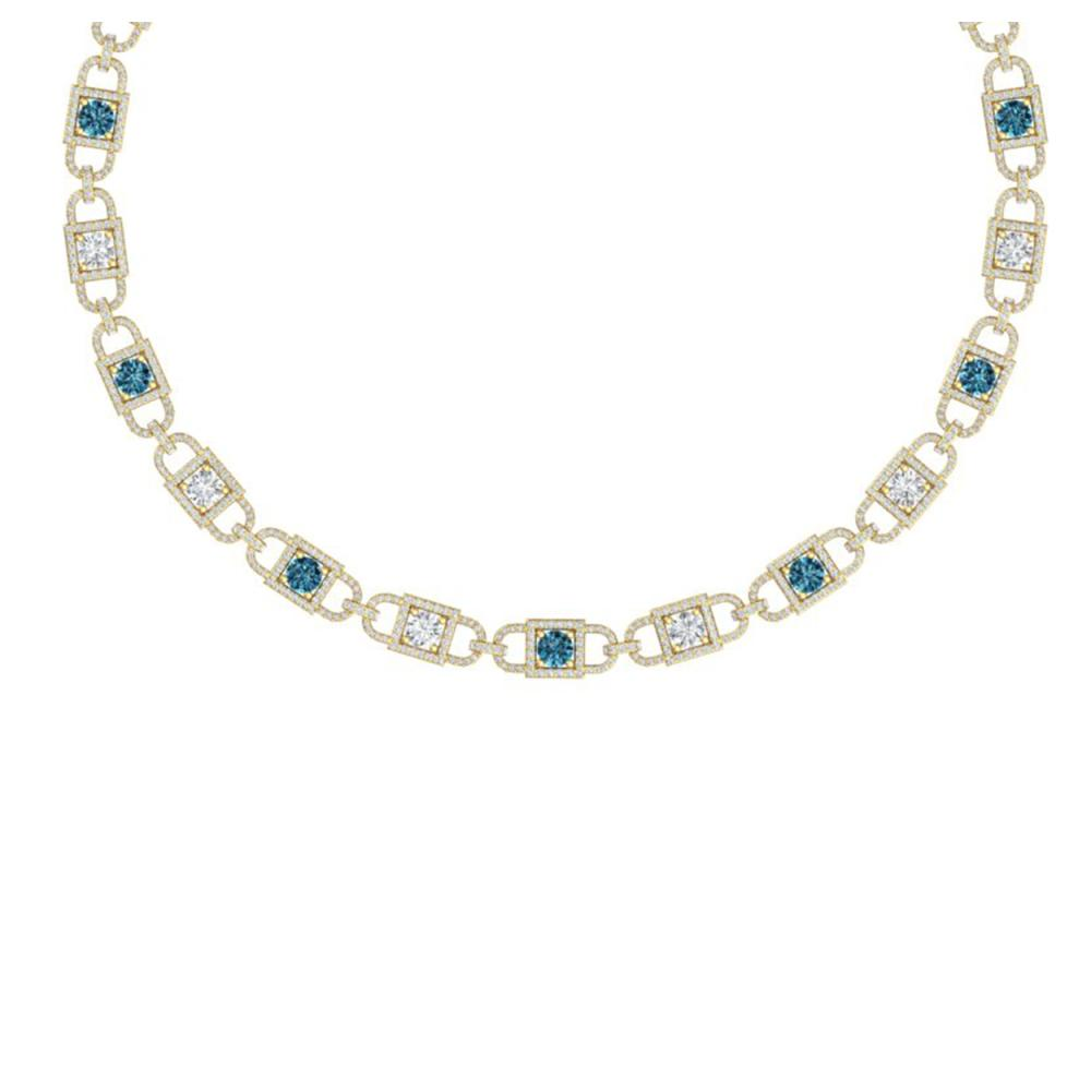 20 ctw SI/I Intense Blue And Diamond Necklace 18K Yellow Gold - REF-2010R2K - SKU:40153