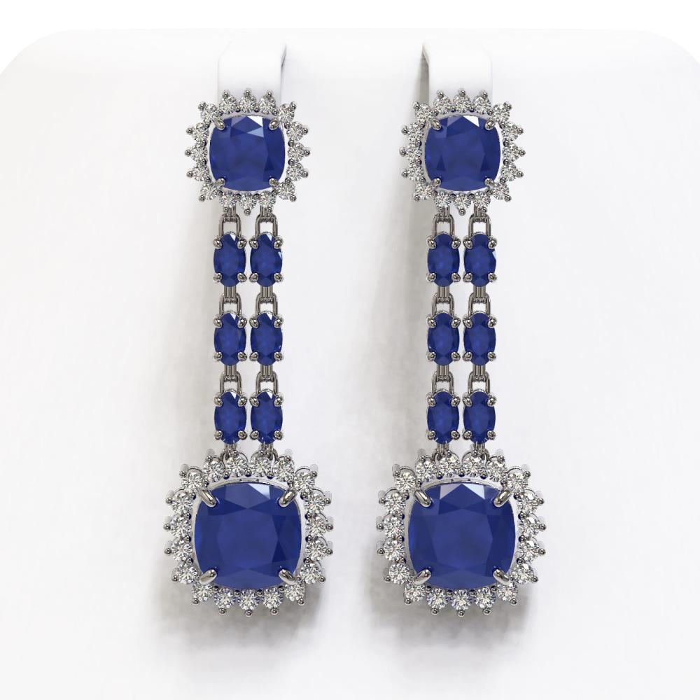 19.88 ctw Sapphire & Diamond Earrings 14K White Gold - REF-283X3R - SKU:44915