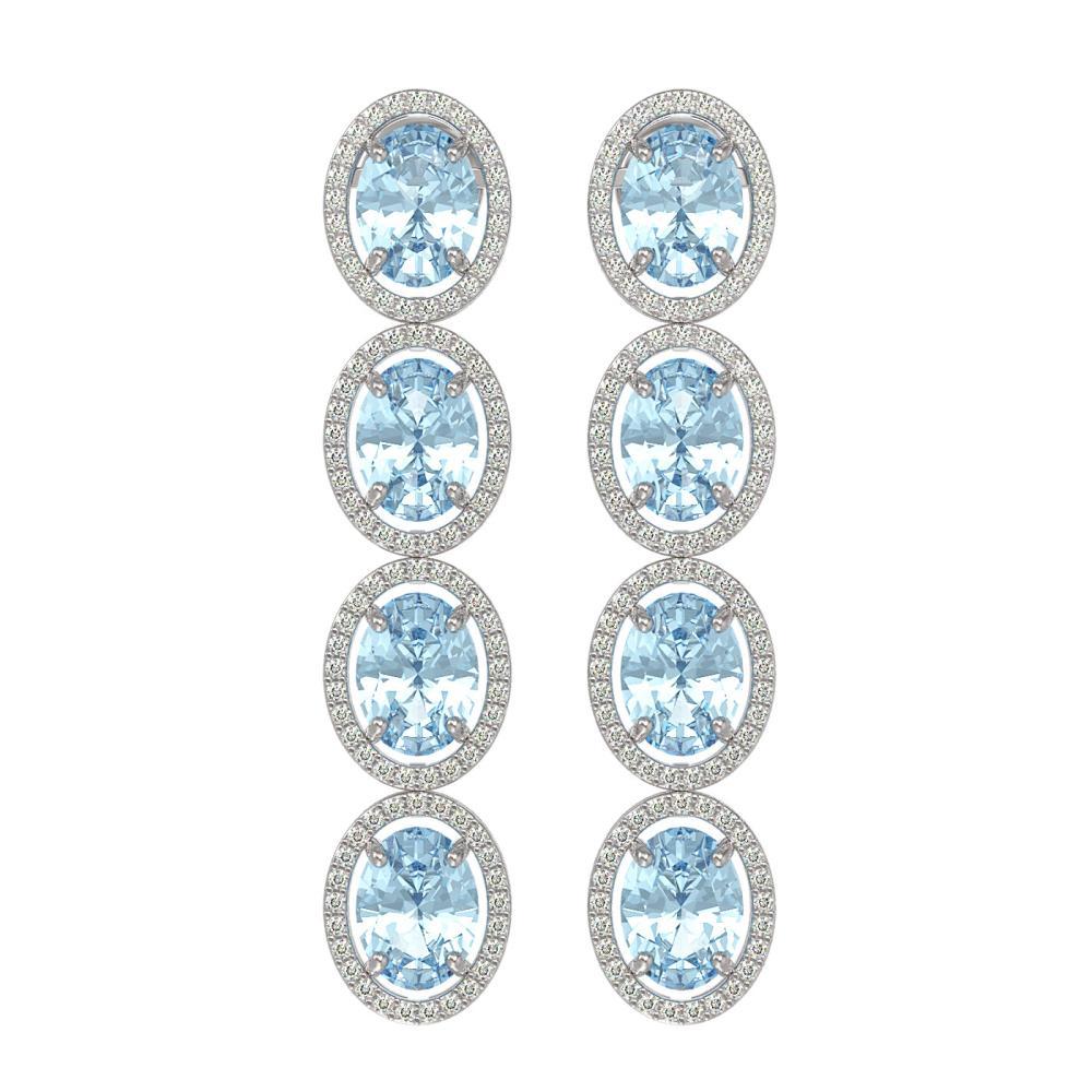 11.72 ctw Aquamarine & Diamond Halo Earrings 10K White Gold - REF-269H3M - SKU:40769