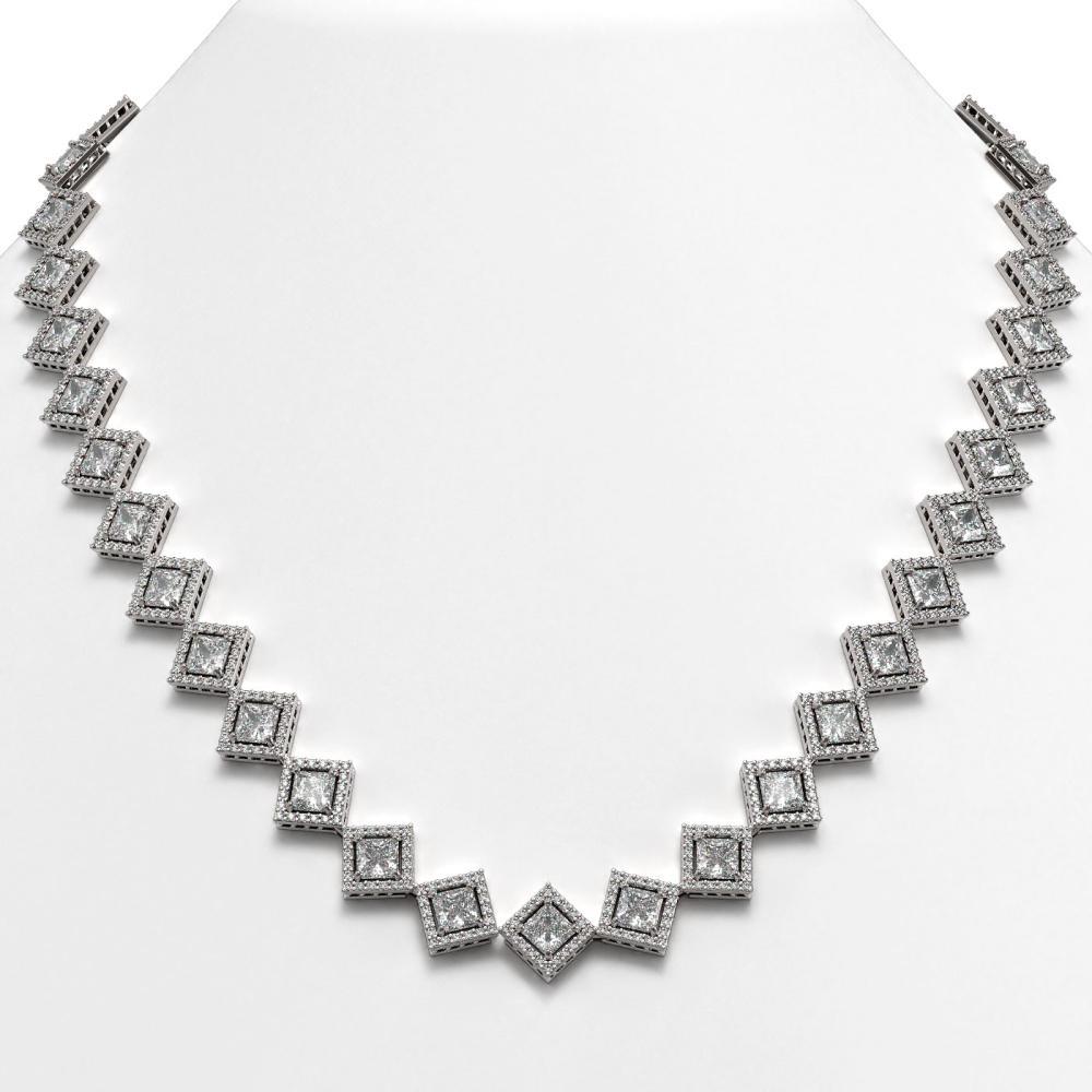 31.92 ctw Princess Diamond Necklace 18K White Gold - REF-4440N3A - SKU:42848