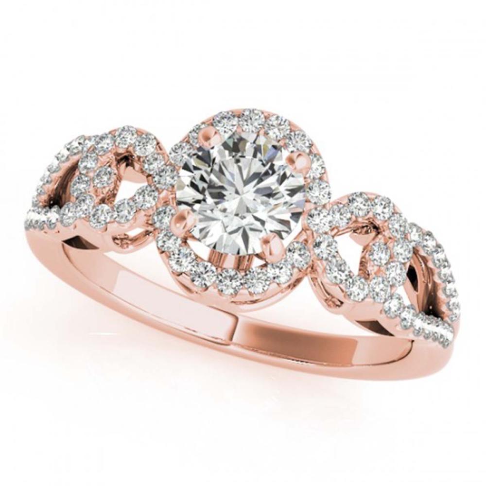 1.15 ctw VS/SI Diamond Halo Ring 18K Rose Gold - REF-159W2H - SKU:26683