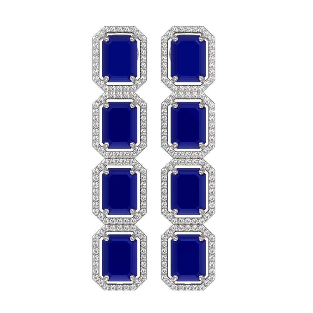 20.59 ctw Sapphire & Diamond Halo Earrings 10K White Gold - REF-213M8F - SKU:41576