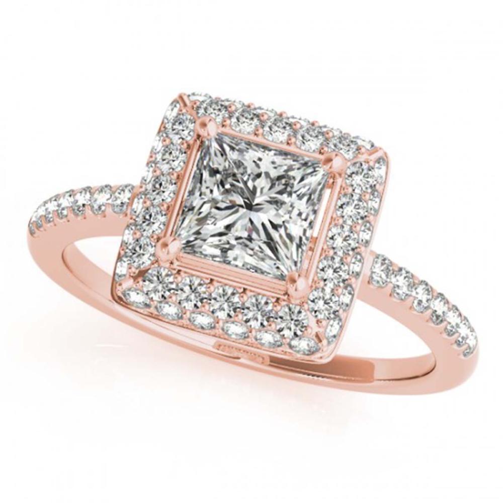1.05 ctw VS/SI Princess Diamond Halo Ring 18K Rose Gold - REF-172K3W - SKU:27142