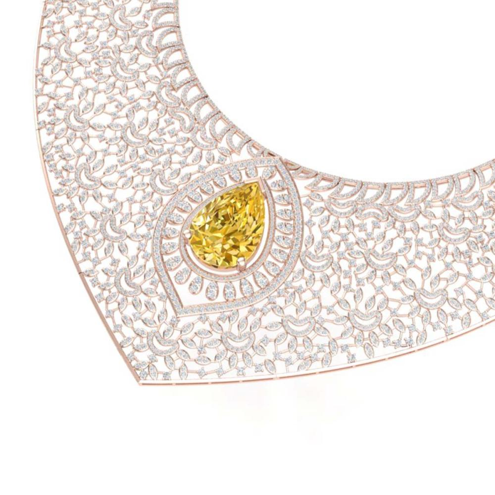 59.27 ctw Canary Citrine & VS Diamond Necklace 18K Rose Gold - REF-2454Y5X - SKU:39583