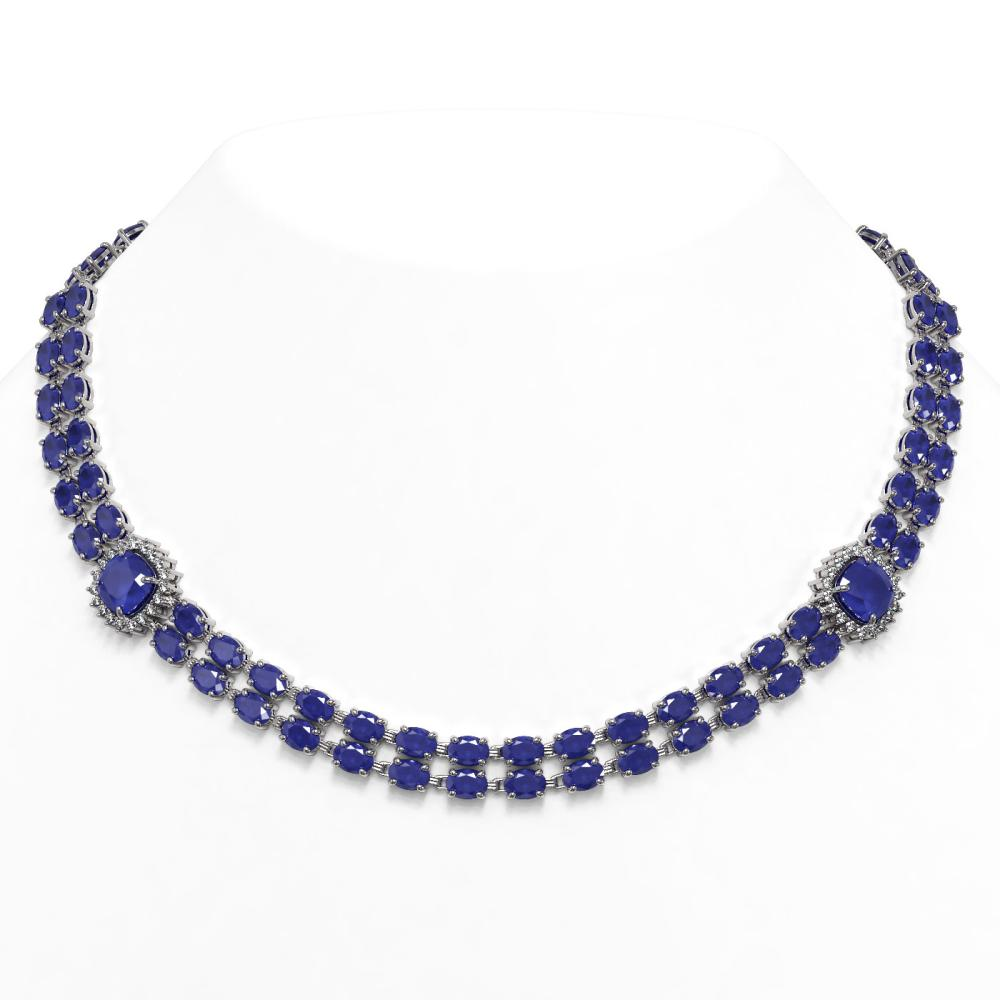 72.85 ctw Sapphire & Diamond Necklace 14K White Gold - REF-595M3F - SKU:44801