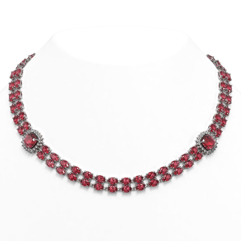 66.37 ctw Tourmaline & Diamond Necklace 14K White Gold - REF-923R3K - SKU:44813