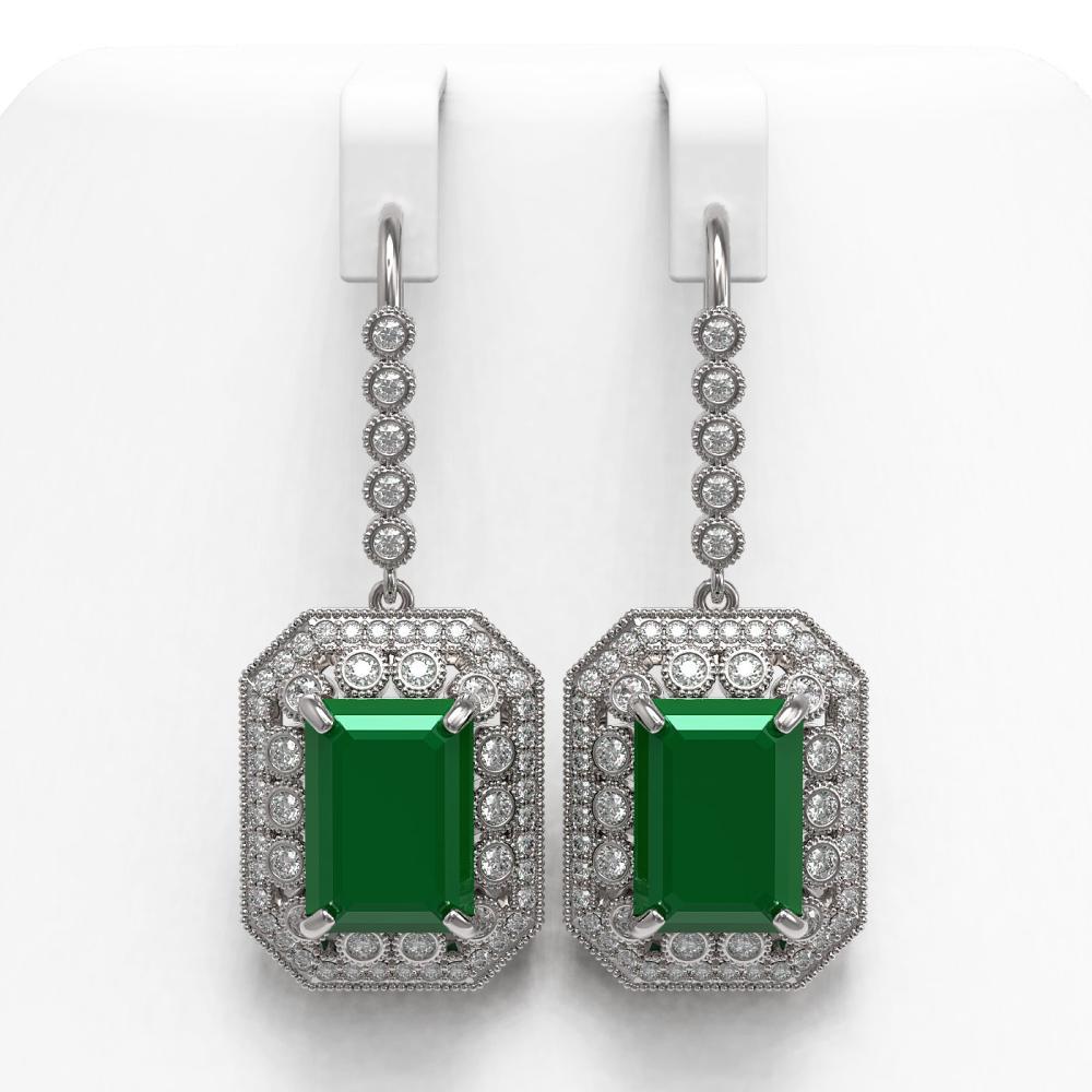 23.79 ctw Emerald & Diamond Earrings 14K White Gold - REF-499Y5X - SKU:43520