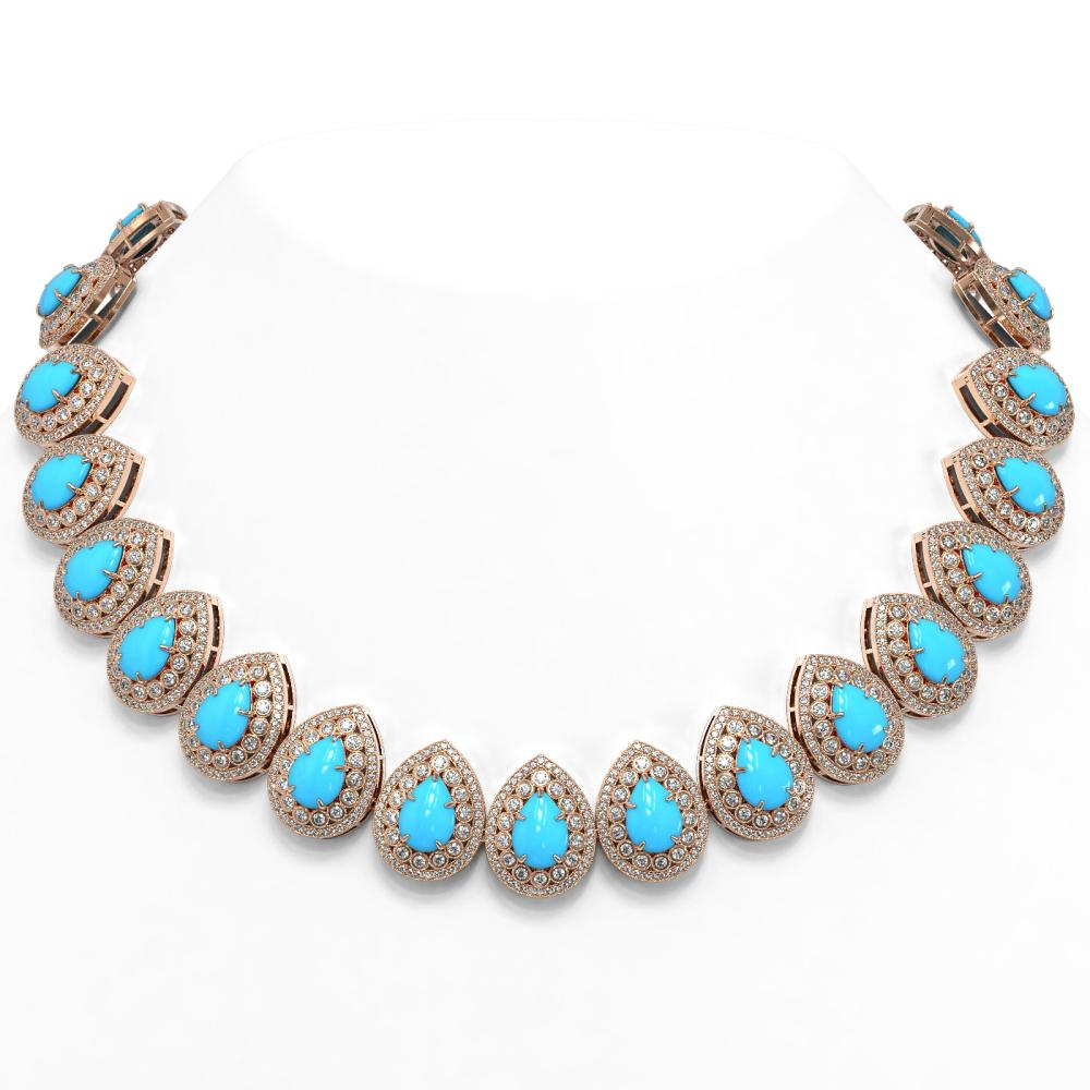 98.02 ctw Turquoise & Diamond Necklace 14K Rose Gold - REF-2956F9N - SKU:46165