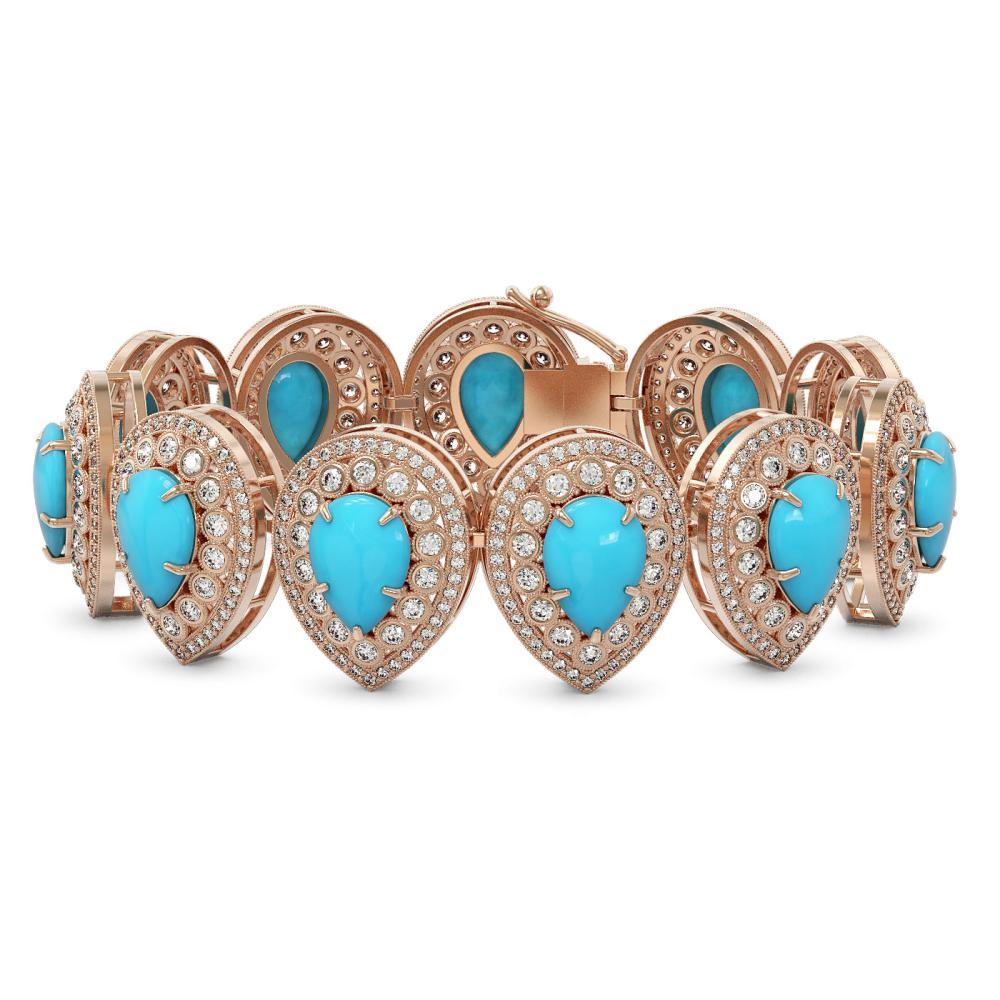 45.24 ctw Turquoise & Diamond Bracelet 14K Rose Gold - REF-1308R7K - SKU:46171