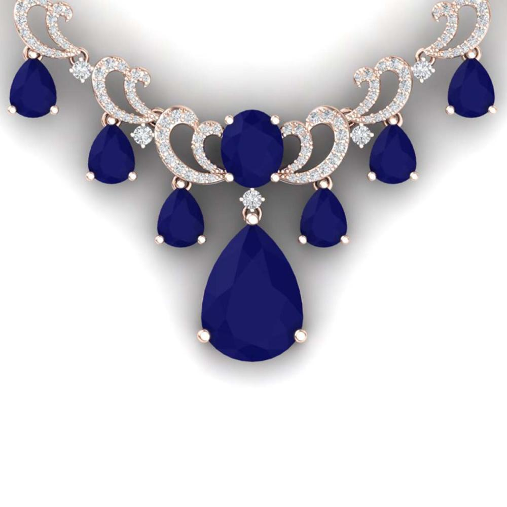 36.85 ctw Sapphire & VS Diamond Necklace 18K Rose Gold - REF-963X6R - SKU:38662