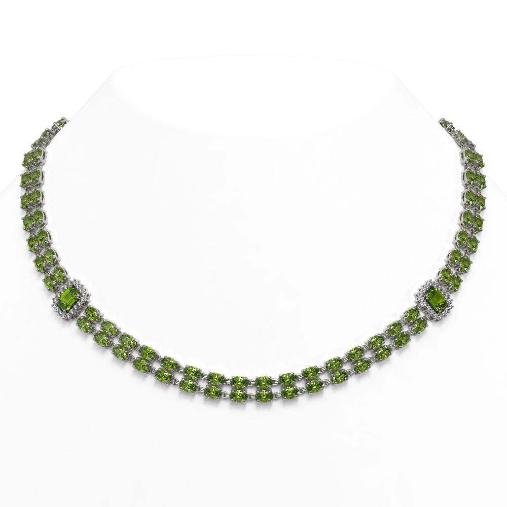57.1 ctw Tourmaline & Diamond Necklace 14K White Gold - REF-653M3F - SKU:45101