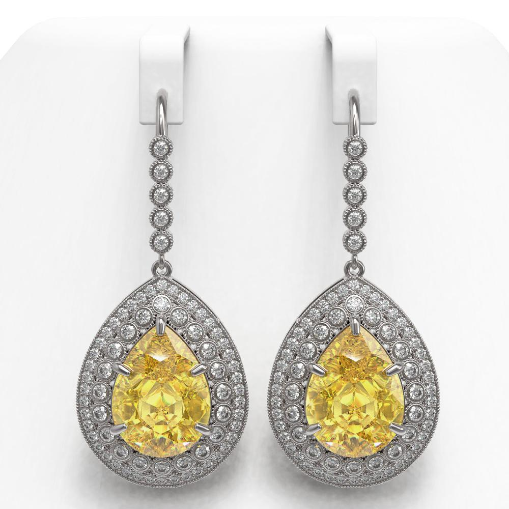 33.92 ctw Canary Citrine & Diamond Earrings 14K White Gold - REF-446F9N - SKU:43310