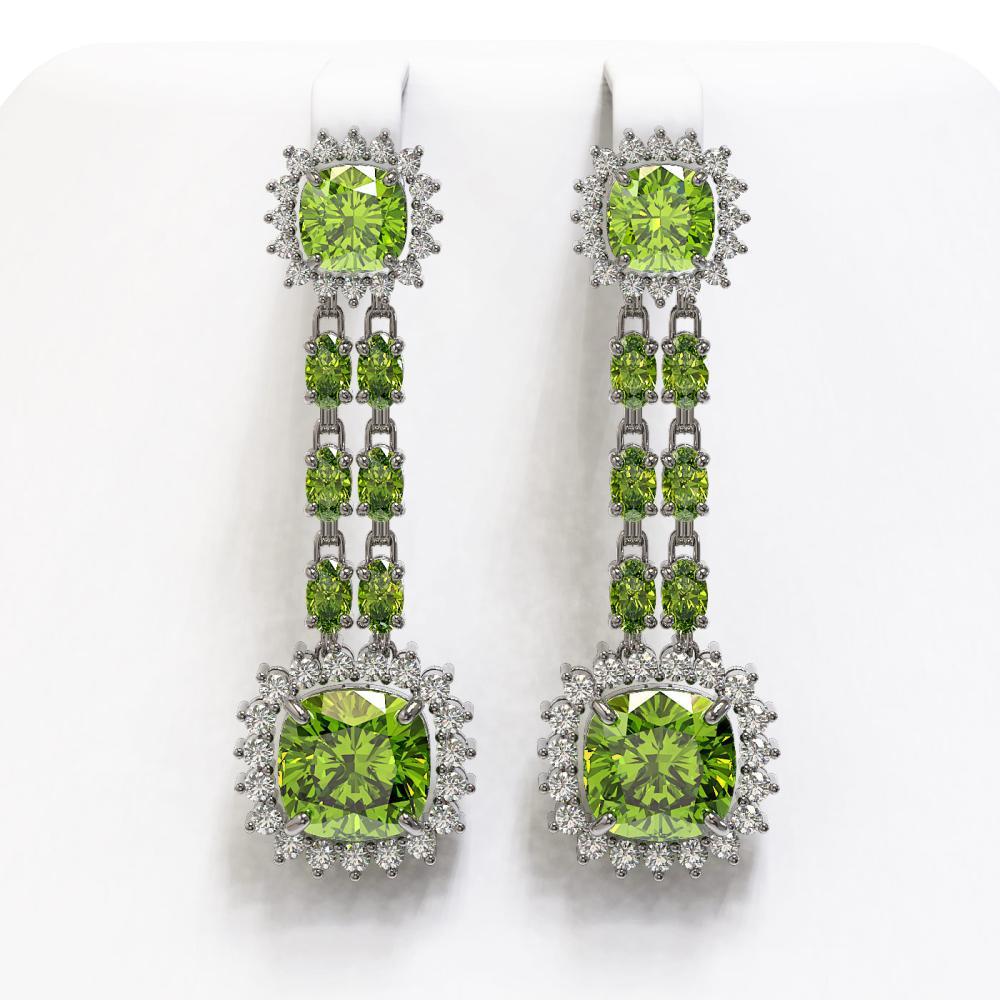 19.88 ctw Peridot & Diamond Earrings 14K White Gold - REF-269V5Y - SKU:44936