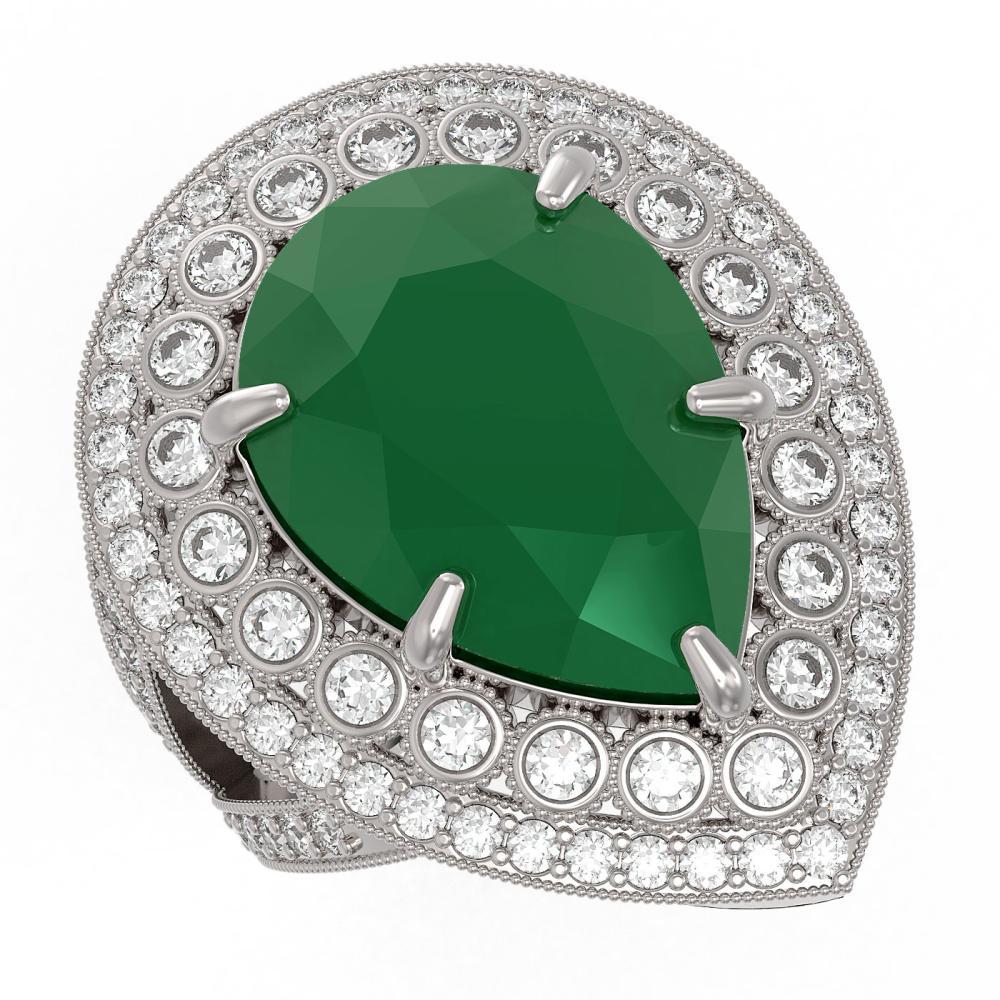 16.29 ctw Emerald & Diamond Ring 14K White Gold - REF-374N4A - SKU:43280
