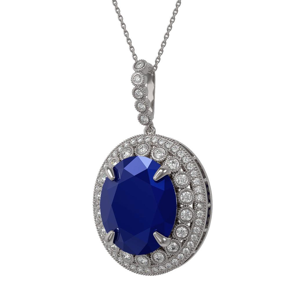 28.98 ctw Sapphire & Diamond Necklace 14K White Gold - REF-408H2M - SKU:43925