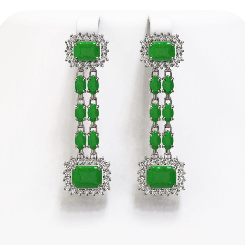 10.22 ctw Jade & Diamond Earrings 14K White Gold - REF-190R5K - SKU:45248