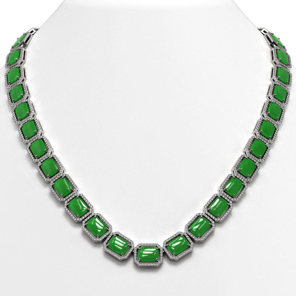 79.49 ctw Jade & Diamond Halo Necklace 10K White Gold - REF-705X8R - SKU:46077
