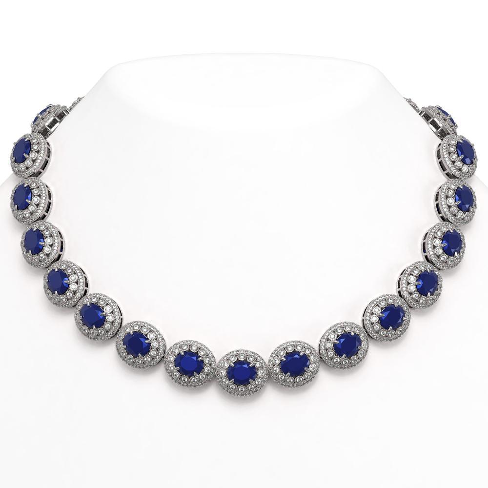 111.75 ctw Sapphire & Diamond Necklace 14K White Gold - REF-2935N8A - SKU:43688