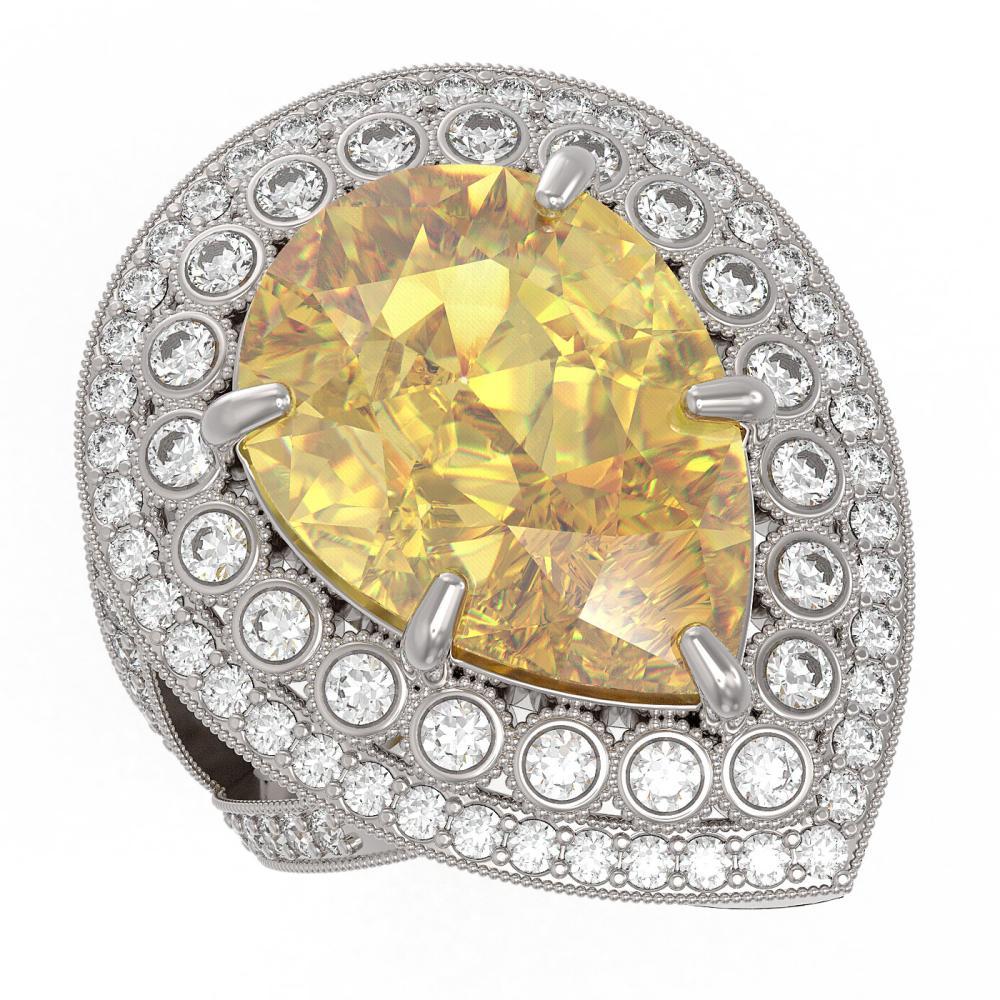 17.38 ctw Canary Citrine & Diamond Ring 14K White Gold - REF-250K5W - SKU:43292