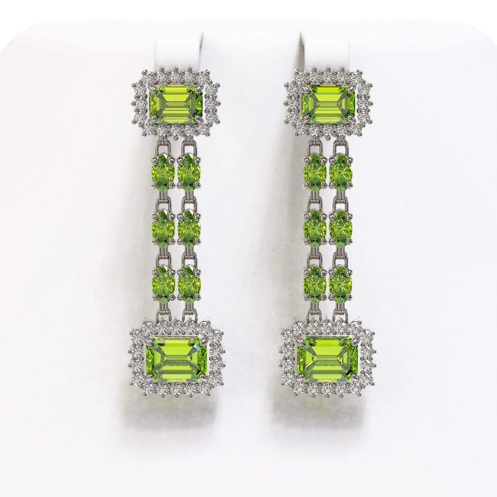 10.88 ctw Peridot & Diamond Earrings 14K White Gold - REF-211F5N - SKU:45221