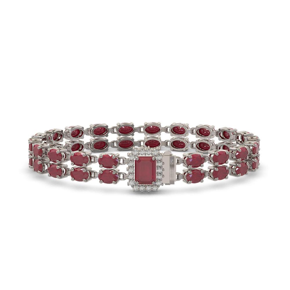 29.01 ctw Ruby & Diamond Bracelet 14K White Gold - REF-250R2K - SKU:45767