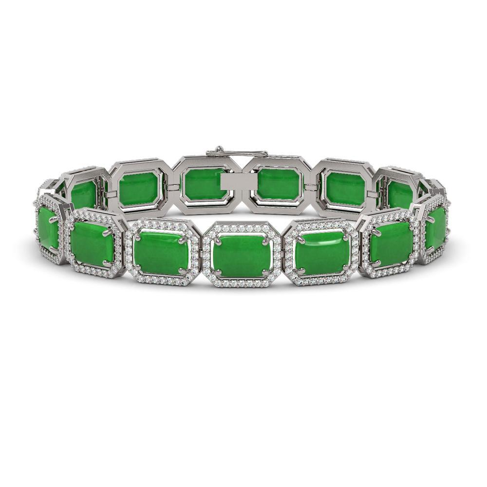 33.46 ctw Jade & Diamond Halo Bracelet 10K White Gold - REF-318F2N - SKU:46083