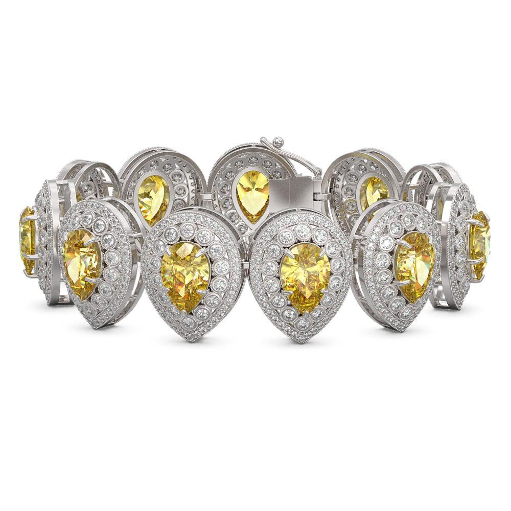 46.44 ctw Canary Citrine & Diamond Bracelet 14K White Gold - REF-1328Y2X - SKU:43268
