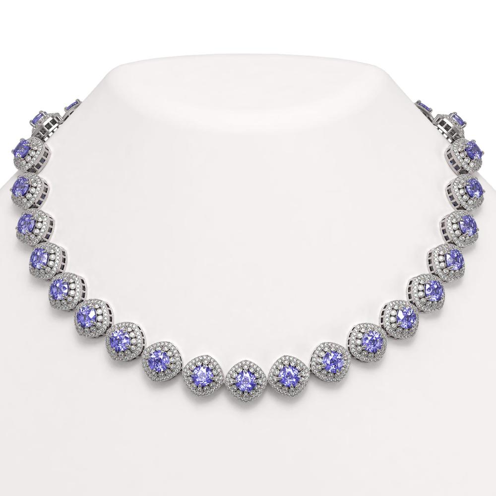 83.82 ctw Tanzanite & Diamond Necklace 14K White Gold - REF-2511M8F - SKU:44105