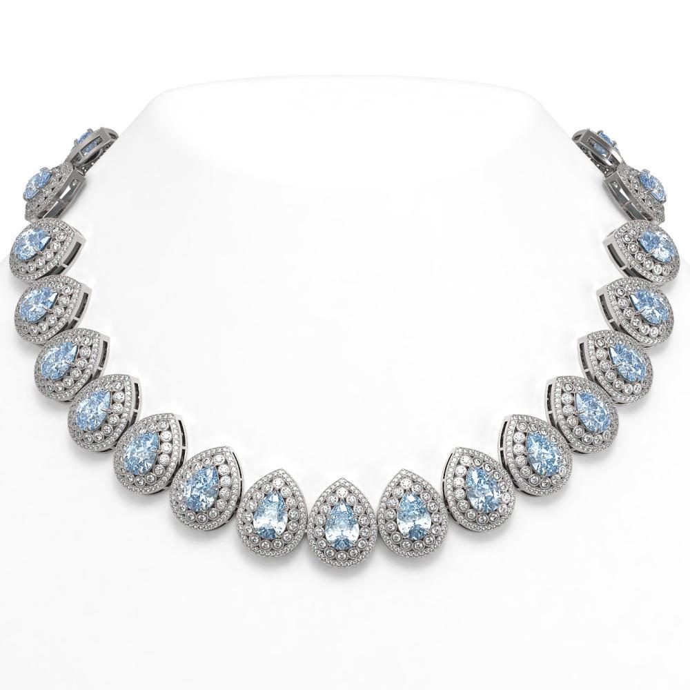 92.83 ctw Aquamarine & Diamond Necklace 14K White Gold - REF-3851K5W - SKU:43238