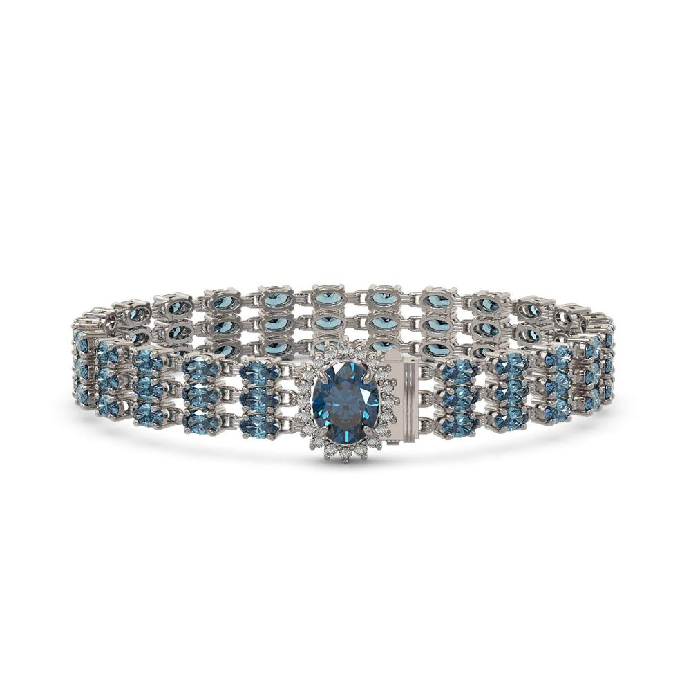 27.33 ctw London Topaz & Diamond Bracelet 14K White Gold - REF-193Y2X - SKU:45857